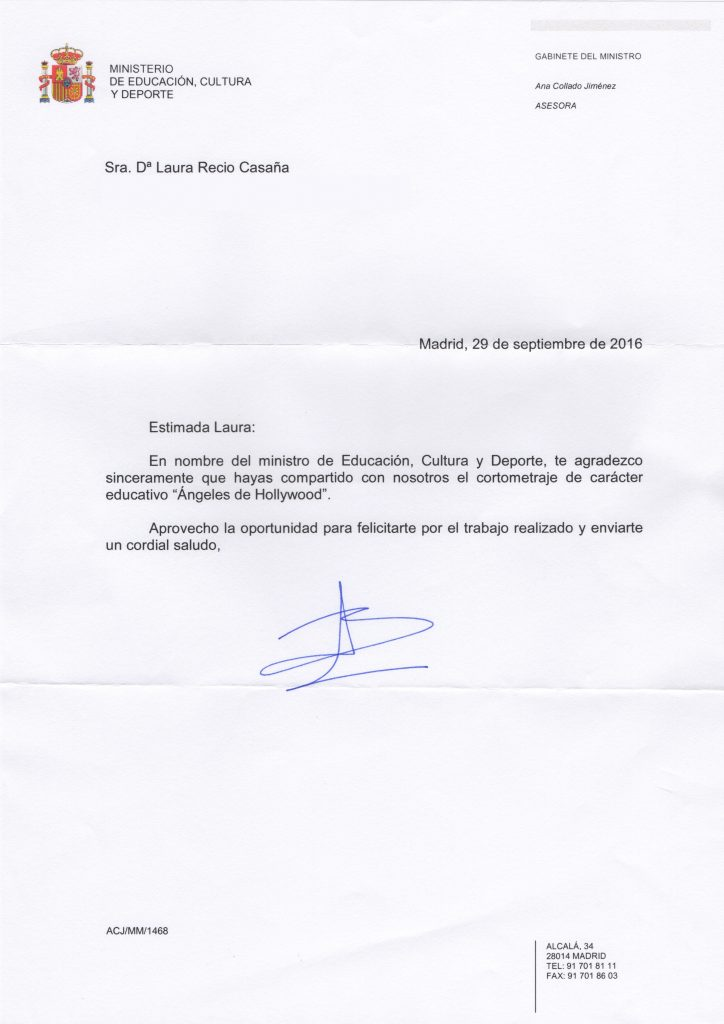 Letters of gratitude the angels of hollywood letter of gratitude from the honourable minister of education culture and sports of spain thecheapjerseys Choice Image