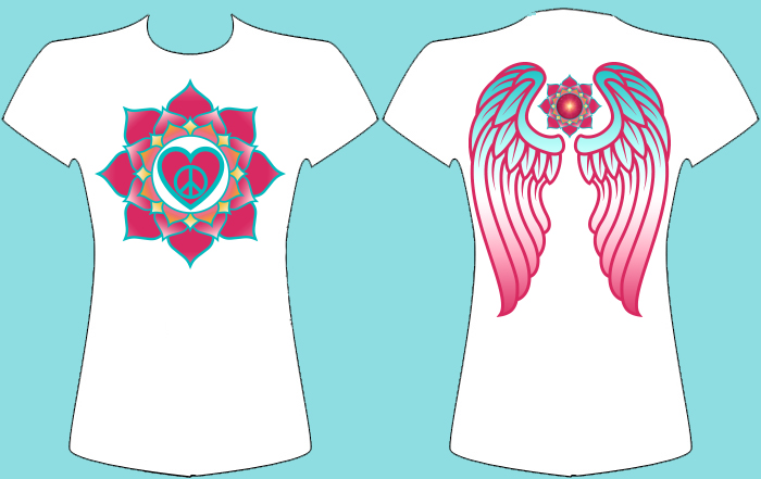 TSHIRT LOTUS PEACE&LOVE WITH WINGS